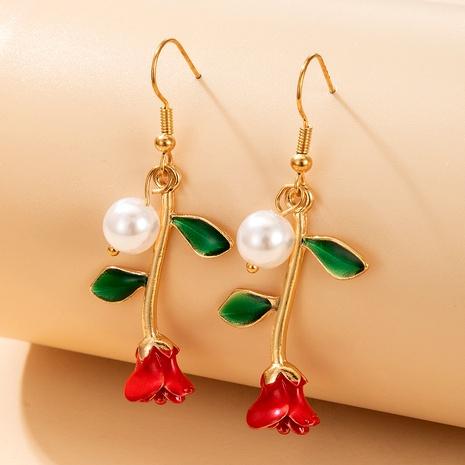 pendientes de perlas exquisitos flor roja retro NHGY287339's discount tags