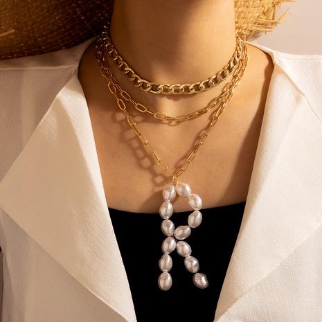 Collar de tres capas con colgante de metal con letras de perlas de moda NHGY287335's discount tags