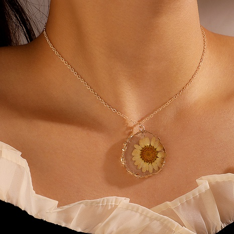 Korean cute hand-painted spar sunflower necklace clavicle chain NHGY285570's discount tags