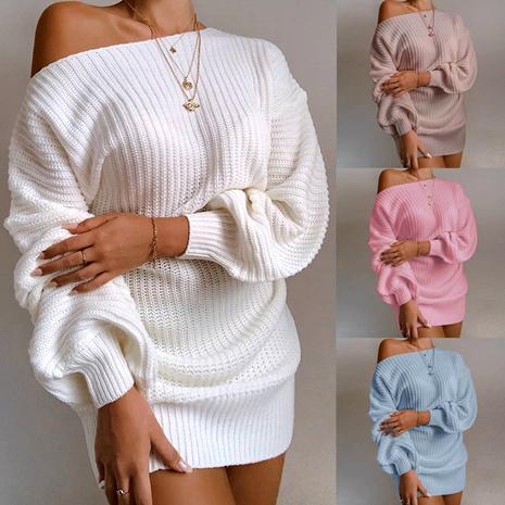 robe-pull décontractée sans bretelles à manches lanterne NHJG286962's discount tags