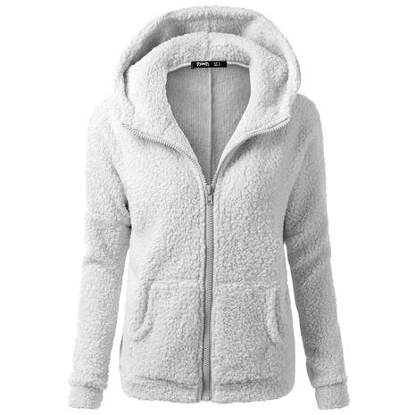 chaqueta con cremallera y capucha de manga larga en color liso NHJG286955's discount tags