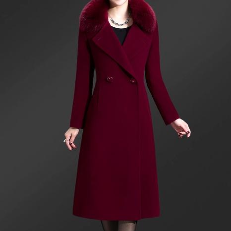 abrigo de lana de cachemir de una sola cara con cuello de piel de zorro de longitud media NHJC286953's discount tags