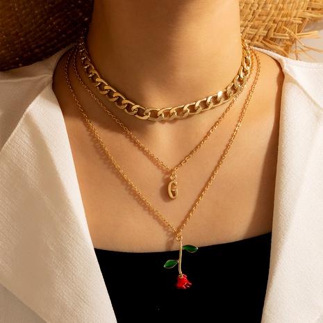 collar con colgante de letra de múltiples capas de flores NHGY287334's discount tags
