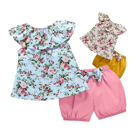 new  children sleeveless floral blouse shorts two piece set NHLF287065's discount tags