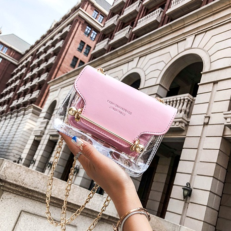 Fashion Transparent Shoulder Messenger Small Square Bag NHEX287126's discount tags