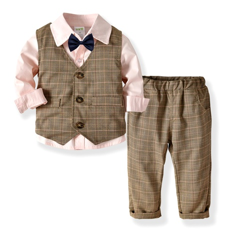 Children's clothing boy long-sleeved shirt double vest trousers bow tie gentleman suit  NHTB287176's discount tags