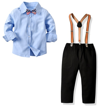 long-sleeved collar shirt black suspenders trousers suit  NHTB287181's discount tags