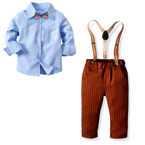 new style solid color shirt striped suspenders  trousers suit NHTB287183's discount tags