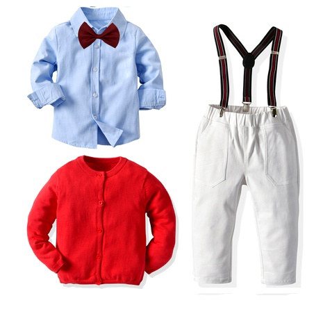 new knitted red sweater strap trousers blue shirt suit  NHTB287189's discount tags
