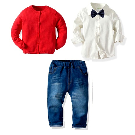 children's clothing boys knitted sweater elastic jeans pants suit NHTB287192's discount tags