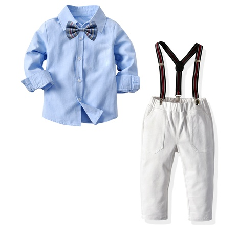 new collar long-sleeved solid color shirt suspenders trousers children's gentleman dress  NHTB287201's discount tags