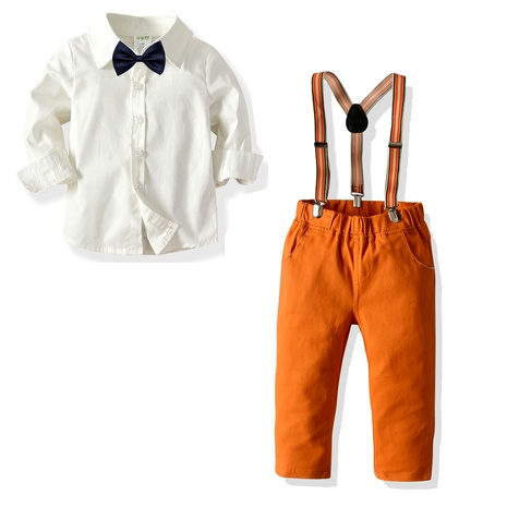 new collar section pure white shirt suspenders trousers  multi-piece suit NHTB287202's discount tags