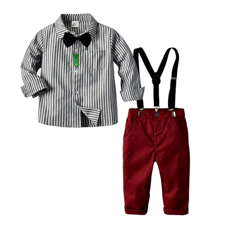 long-sleeved striped shirt bow tie bib  long-sleeved  suit NHTB287204's discount tags