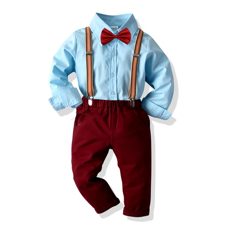 new boys' long-sleeved shirt elastic suspenders trousers four-piece  NHTB287207's discount tags