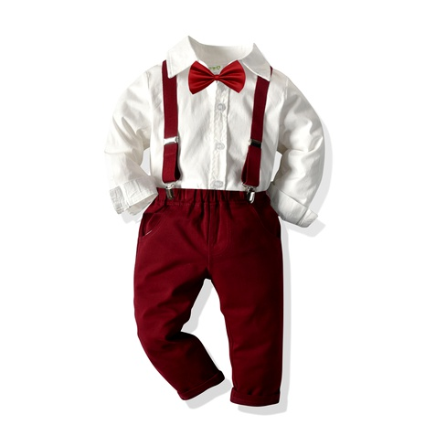 long-sleeved shirt elastic suspenders trousers gentleman four-piece  NHTB287206's discount tags