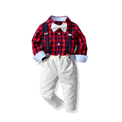 Plaid Long Sleeve Shirt Strap Trousers  Four-piece  NHTB287208's discount tags