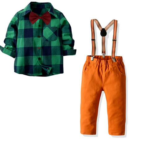 new collar long-sleeved plaid shirt suspenders trousers  multi-piece suit NHTB287209's discount tags