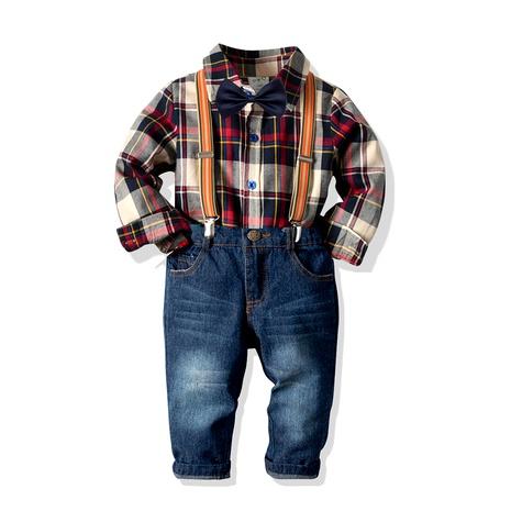 Boy's cotton plaid long-sleeved shirt denim bib four-piece suit  NHTB287212's discount tags
