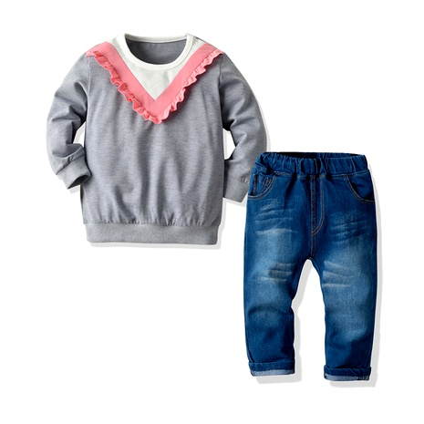 color matching long-sleeved sweater stretch denim trousers two-piece  NHTB287215's discount tags