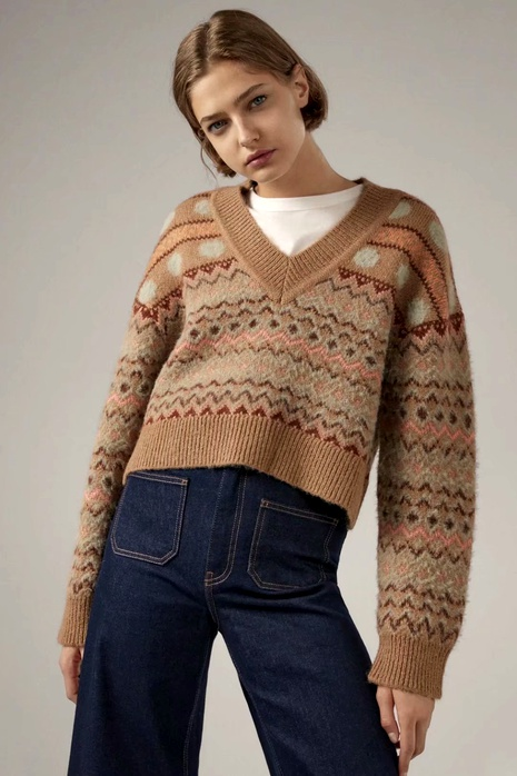 suéter de jacquard de moda NHAM287280's discount tags