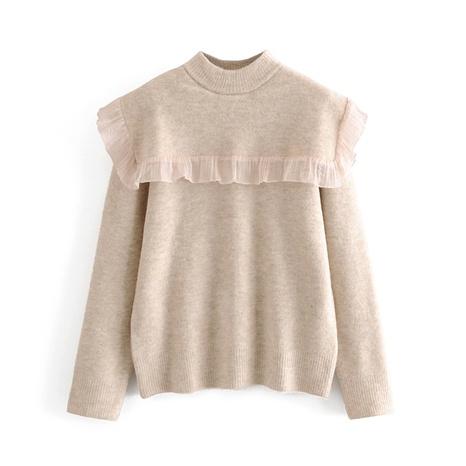 jersey con cuello redondo y manga larga con costuras de organza NHAM287281's discount tags