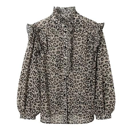 top de camisa con estampado de leopardo de orejas de madera de cuello alto para mujer NHAM287284's discount tags
