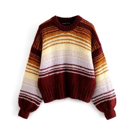 suéter suelto a rayas con cuello redondo y manga abullonada NHAM287288's discount tags