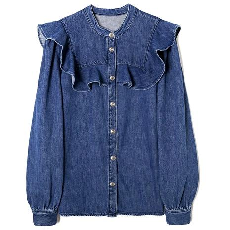 Top de camisa vaquera de invierno con cuello redondo y orejas de madera para mujer NHAM287289's discount tags