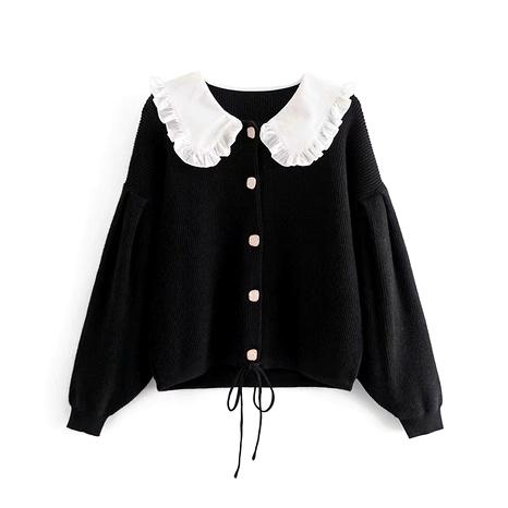 solapa suelta chaqueta de punto de manga larga simple NHAM287290's discount tags