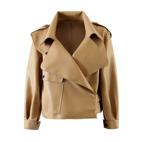 chaqueta de cuero pu de cuero con cuello grande NHAM287291's discount tags