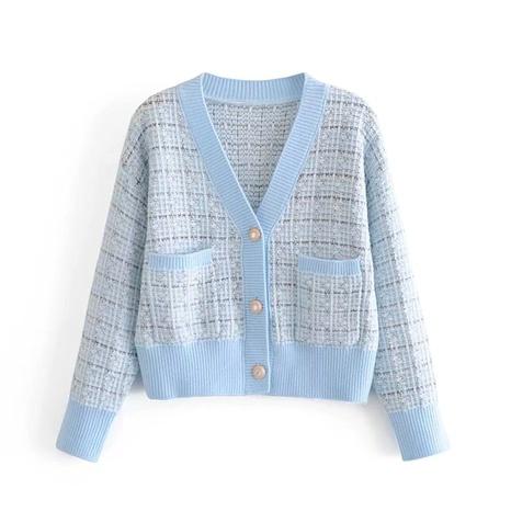 chaqueta de punto suelta a cuadros casual NHAM287292's discount tags