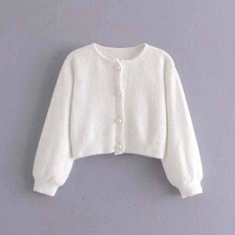 chaqueta de punto mullida con botones de cuello redondo NHAM287293's discount tags