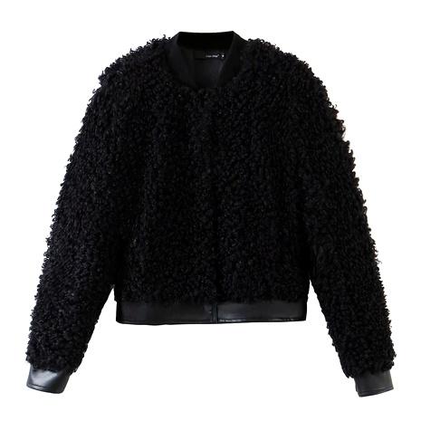 nuevo abrigo corto de pelo rizado de peluche de imitación de piel NHAM287295's discount tags