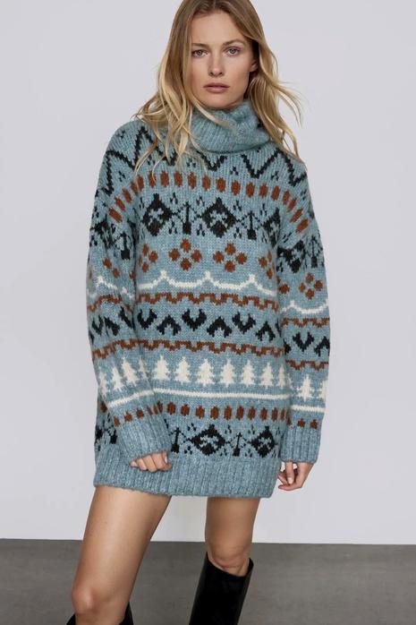 suéter de punto suelto jacquard de invierno suéter medio de cuello alto de mujer NHAM287299's discount tags
