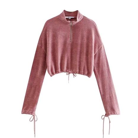 suéter de cintura alta estilo perezoso con cremallera NHAM287303's discount tags