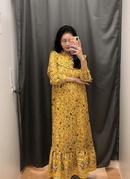 vestido de manga larga midi con estampado nuevo de moda NHAM287311