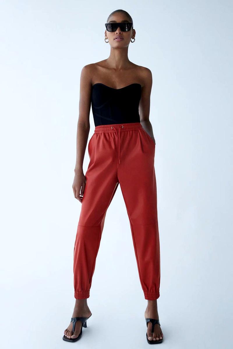 three-color imitation  women's casual  leather pants NHAM287313