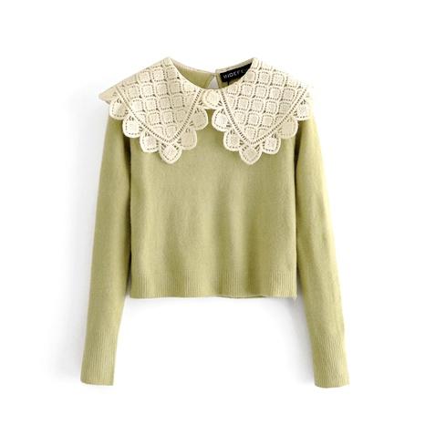 nuevo suéter de cuello de muñeca con costura de encaje para mujer NHAM287324's discount tags