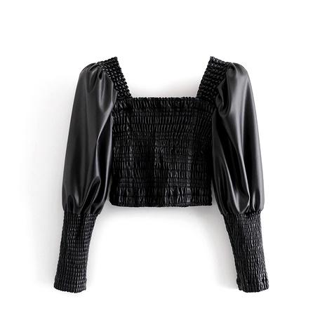 nueva blusa pulóver de manga de cordero cuadrada de imitación de cuero NHAM287330's discount tags