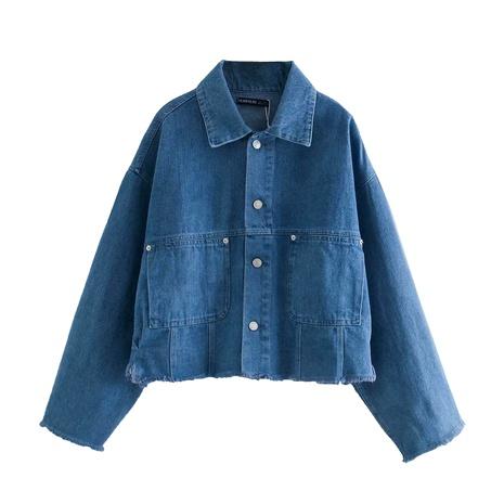 moda nueva chaqueta de camisa de mezclilla de bolsillo para mujer NHAM287329's discount tags
