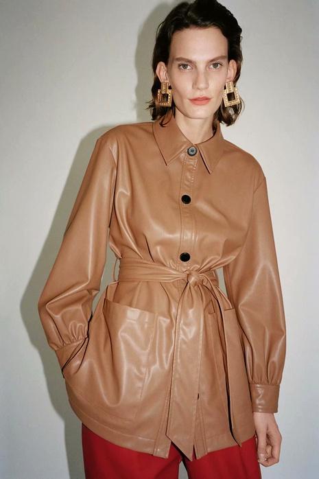 nueva chaqueta de piel sintética con cinturón NHAM287331's discount tags