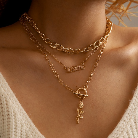retro rose pendant English letter three-layer exaggerated necklace clavicle chain NHGY285703's discount tags