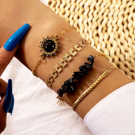 retro black sun flower bracelet 4-piece set NHGY287762's discount tags