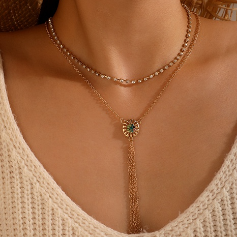 Bohemian Hollow Flower Tassel Alloy Colorful Diamond Chain Necklace NHGY285709's discount tags