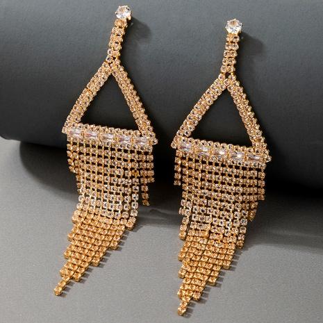 fashion diamond metal long tassel earrings  NHGY287758's discount tags