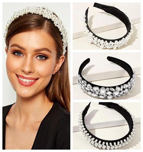 rhinestone geometric wide side full diamond  headband  NHGE287433's discount tags