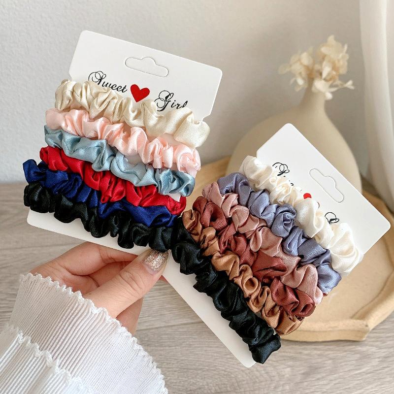 Simulated Silk Satin Retro Hair Scrunchies 6-piece Set NHGE287443