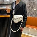 French  popular new trendy korean  diamond texture shoulder crossbody saddle bag NHRU287547