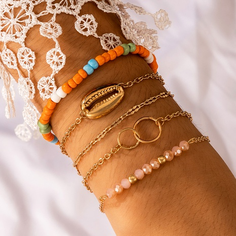 Bohemian four-layer fashion metal shell crystal bracelet NHGY287743's discount tags