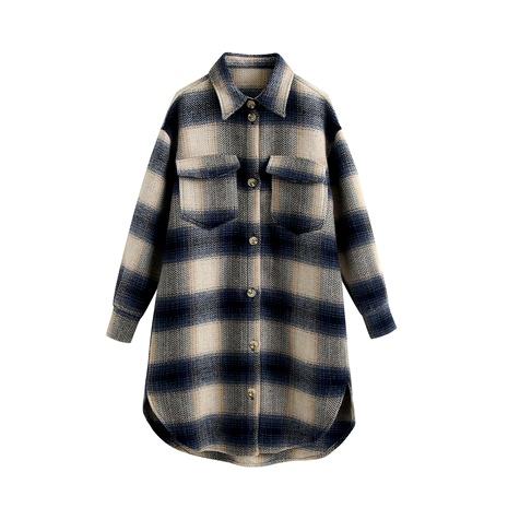 abrigo de lana de longitud media informal suelto a cuadros NHAM287310's discount tags
